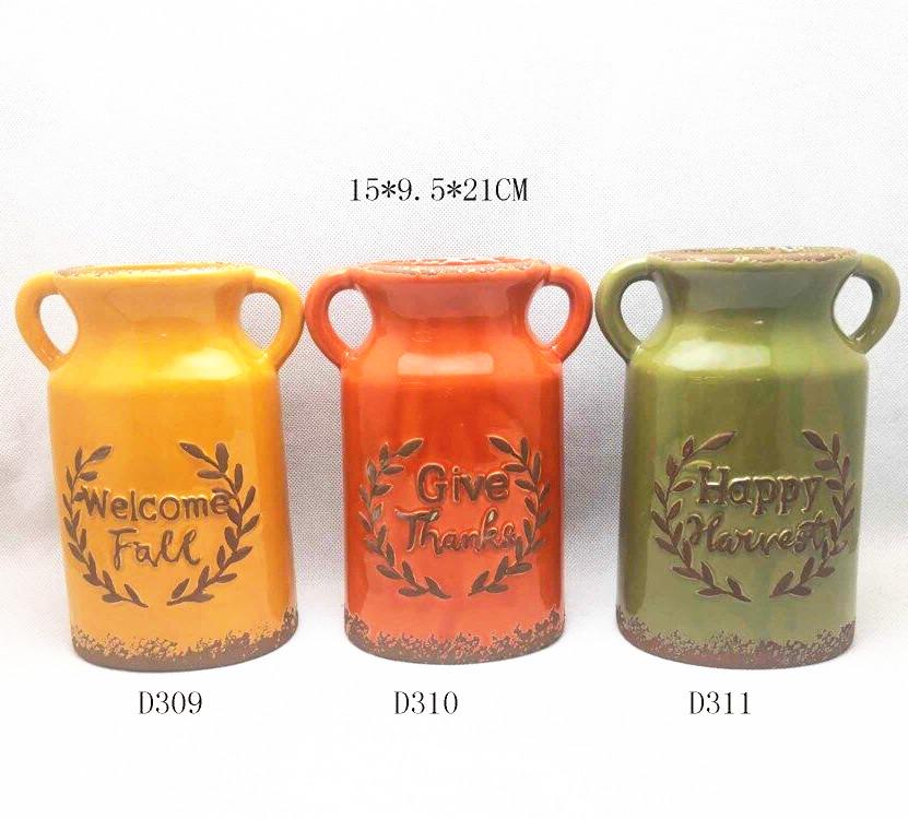 Ceramic antique rustic  harvest vases  ,fall season vases