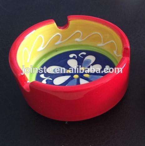 Custom hand made painting ceramic ashtray portable cigar ashtray