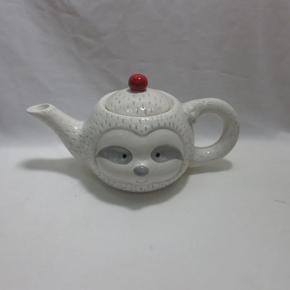 Customized white color tree sloths handmade painting porcelain teapot animal cheap ceramic teapot