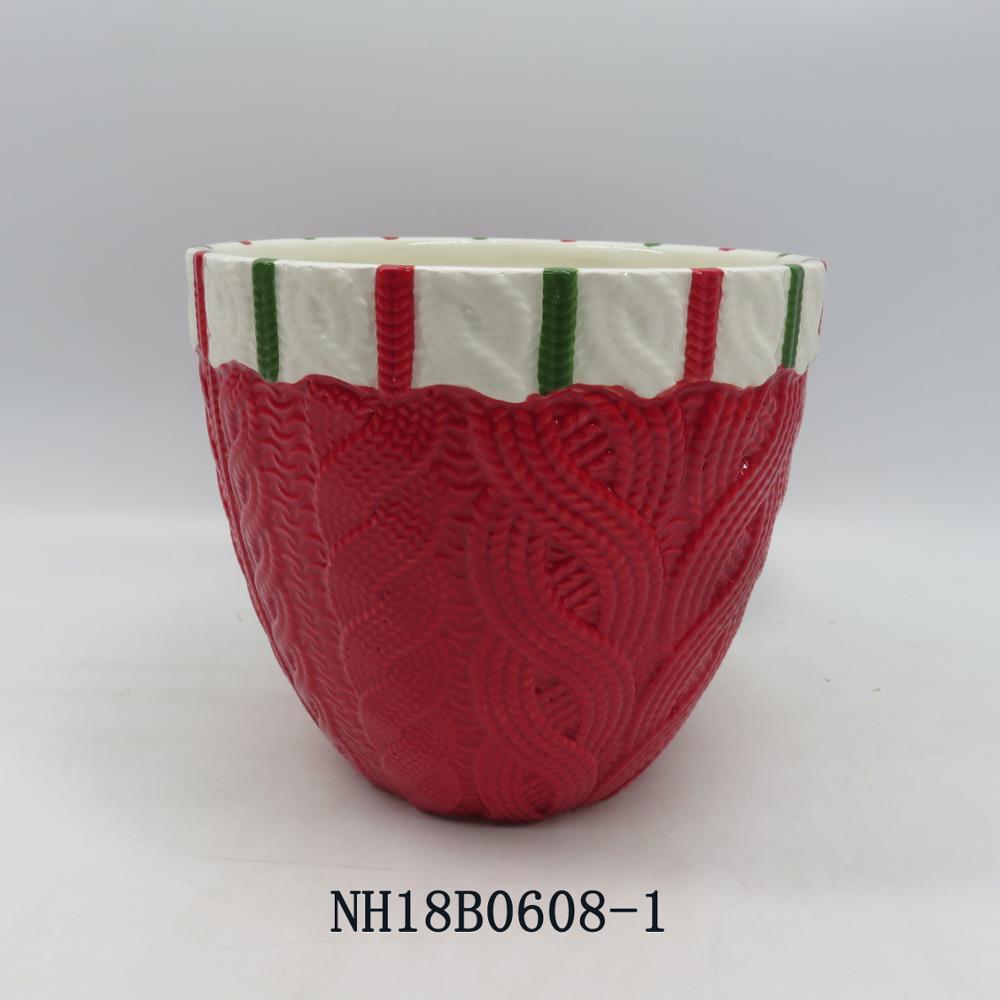 Wholesale christmas custom ceramic bowl, painting like wool knitting red bowl