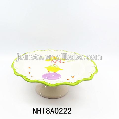 Ceramic Easter chicks Cake Stand Plate Display Platter