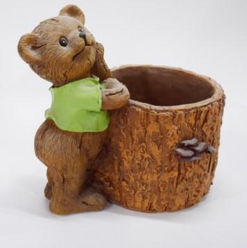 Custom cheap resin flower planter pot with bear resin garden decoration