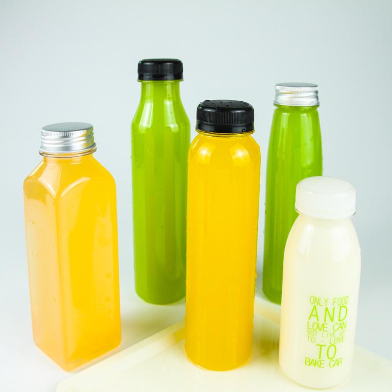 8-OZ Cylindrical Plastic Juice Bottles – Cold Pressed Clear Food Grade PET Bottles with Tamper Evident Safety Cap